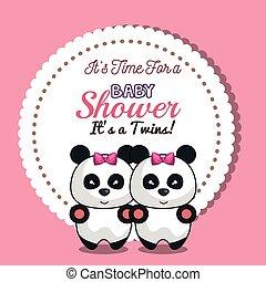 doccia, disegno, invito, bambino, gemelli, ragazza, panda, scheda