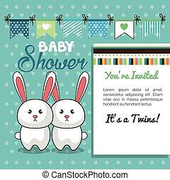doccia, gemelli, coniglio, bambino, disegno, scheda