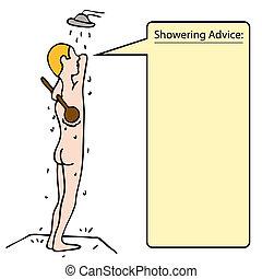 doccia, indietro, fregare, uomo