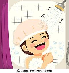 doccia, ragazza, canto