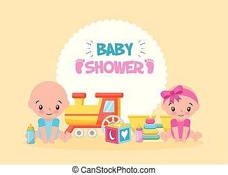doccia, scheda, treno, giocattolo, bambino