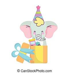 doccia, treno, elefante, bambino, neonato, annunciare, benvenuto, regalo, carino, scheda, giocattolo