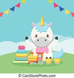doccia, unicorno, scheda, bambino