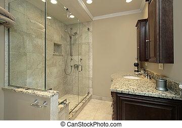 doccia, vetro, maestro, bagno