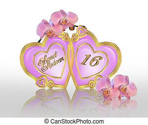 doce, 16, aniversário, gráfico, orquídeas