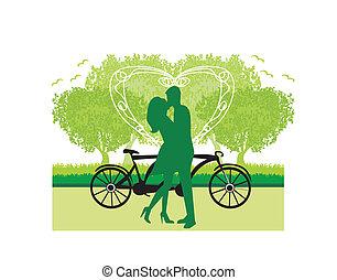 doce, amor, par, sillhouette, jovem, parque, ficar