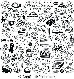 doce, assando, doodles