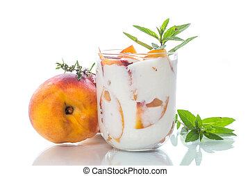 doce, caseiro, yogurt, com, pedaços, de, pêssego