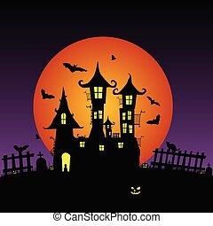 doce, castelo, vetorial, morcegos, beleza