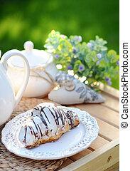 doce, croissant, com, um, xícara café