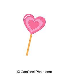 doce, desenho, coração, isolado, vetorial