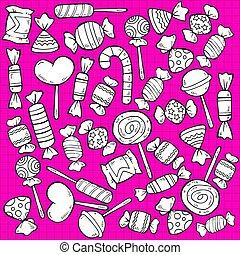 doce, esboço, gostoso, produtos, padrão