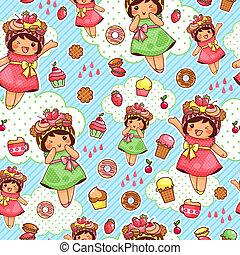 doce, feliz, padrão
