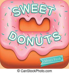 doce, fundo, donuts