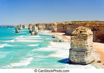 doce, grande, australia, camino, apóstoles, océano