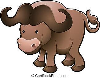 doce, ilustração, vetorial, africano, búfalo capa