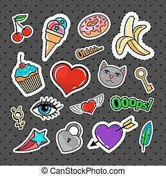 doce, jogo, emblemas, quirky