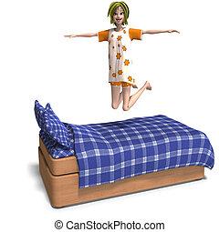 doce, jovem, convida, partido slumber, menina, caricatura