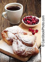 doce, pães, com, xícara café