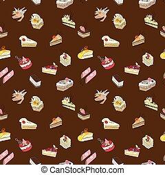 doce, padrão, bolo, marrom