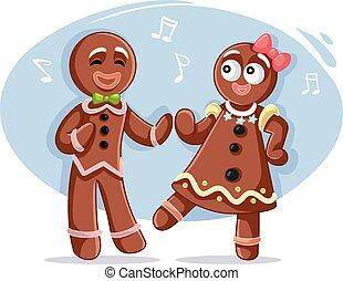 doce, par dançando, natal, gingerbread