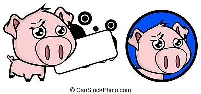 doce, pequeno, porca, cabeça grande, expressão, jogo