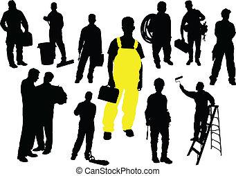 doce personas, trabajador, silhouettes.