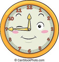 doce, reloj, después, cuarenta, cinco, mascota