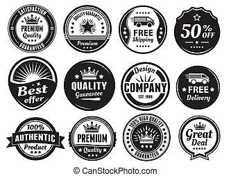 doce, scalable, insignias, vendimia