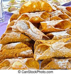 doce, siciliano, cannoli, típico