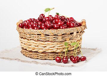 doce, suculento, cereja, em, cesta