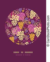 doce, uva, videiras, círculo, decoração, padrão, fundo