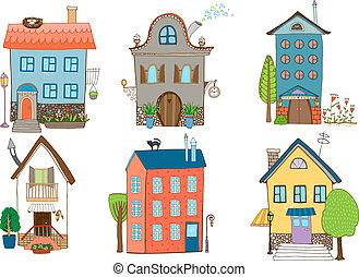 doce, vetorial, ilustração, lar