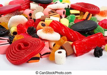 doces, coloridos, detalhe, fundo