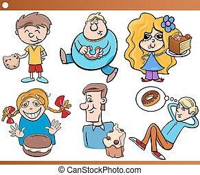 doces, crianças, jogo, caricatura