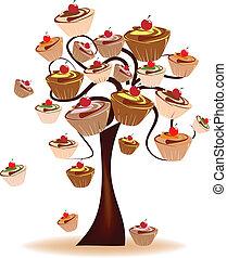 doces, decorado, árvore