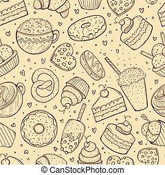 doces, esboço, seamless, padrão, doodle