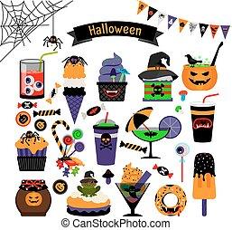 doces, feitiçaria, dia das bruxas, apartamento, ícones