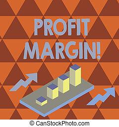dochód, fotografia, zbyt, perspektywa, arrows., korzyść, wykres, dwa, pisanie, tekst, konceptualny, 3d, handlowy, margin., pokaz, wykres, ręka, clustered, bar, kwota, wydatki, exceeds