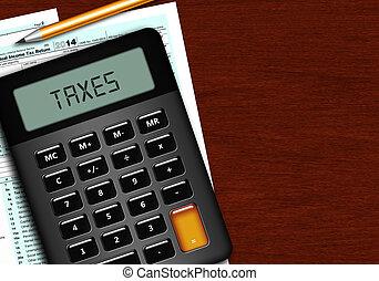 dochód, kształt, osobnik, nałóżcie powrót, kalkulator, 1040...