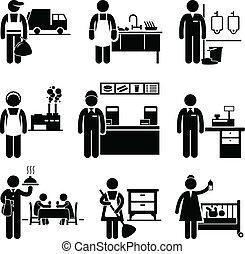 dochód, prace, niski, kariery, okupacje