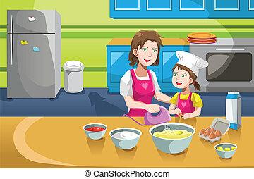dochter, bakken, moeder