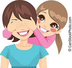 dochter, bedekking, moeder, eyes