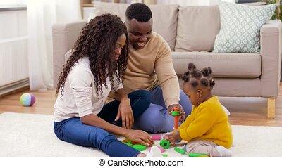 dochter, familie huis, baby, spelend, afrikaan