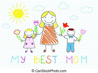 dochter, gezin, haar, -, zoon, moeder, vrolijke