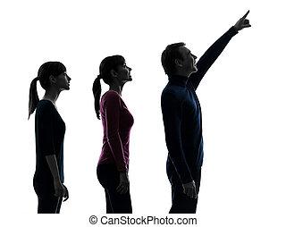 dochter, gezin, vader, op, het kijken, moeder, silhouette, verwonderd