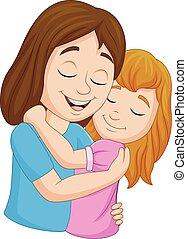 dochter, haar, het koesteren, moeder, spotprent, vrolijke