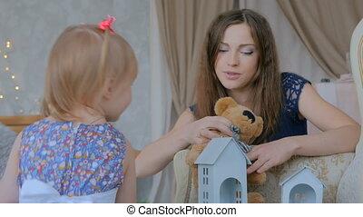dochter, haar, jonge, shots., 2, moeder, baby, thuis, spelend, togerher