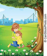 dochter, haar, moeder, boom omhelzend, onder