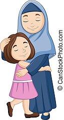 dochter, haar, moslim, het koesteren, moeder, vrolijke